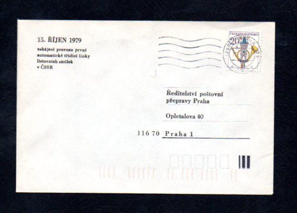 Obálka zahájení provozu první automatické třídící linky, 15.10.1979, Praha 025 (č.10)
